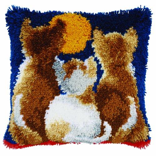 Vervaco Katzen bei Nacht Knüpfkissen mit Knüpfhaken, Baumwolle, Mehrfarbig, 40 x 40 x 1 cm -