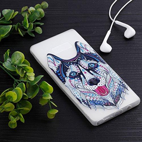 inShang Galaxy Note 8 Custodia [Trasparente cover Galaxy Note 8] [luminoso nel buio], comoda Cover posteriore di case di stile di protezione wolf