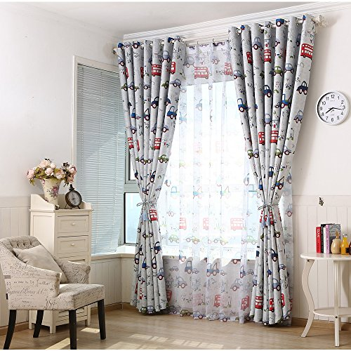 Blackout Insulation Curtains Cartoon Cars Children Kids Bedroom Drapes Top Eyelet 2 panels52W*54L*2