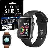 TECHGEAR [4 Pack] Screen Protectors to fit Apple Watch 38mm [ghostSHIELD Edition] Genuine Reinforced Flexible TPU Screen Prot