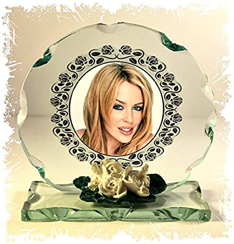 Kylie Minoque Photo Cut Glass Round Frame Plaque Fan Club