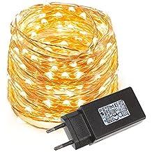 LE Cadena de luces LED 10m, alambre de cobre impermeable, 100 LED blanco cálido, guirnalda de luces, decoración para navidad, fiestas, bodas, jardines,