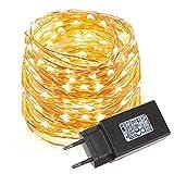 Beleuchtung - LE 10M 100 LEDs Kupferdraht LED Kupfer Lichterkette, Wasserdicht Sternen Lichterketten (warmweiss)