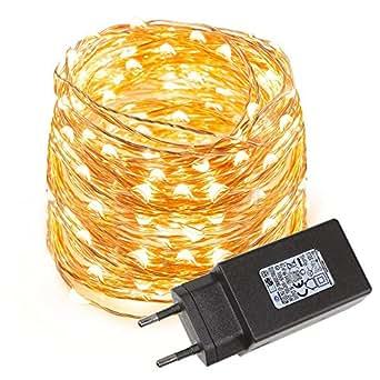 LE Stringa luminosa 10m, 100 LEDs in Rame Impermeabile Pieghevole Bianco Caldo