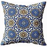 Throw Pillow Covers Motivo Ornamentale Orientale Sfondo Con Ornamenti Floreali E Geometrici Rotondi Ripetizione Di Piastrelle Di Mandala Motivo Boho Copridivano Cuscino Federa Casa Stagionale 45X45Cm