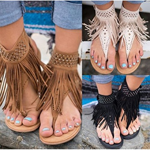 Quaste Flip Flops Flat Römersandalen Hohl Offen Strand Sandalen Wulstige Zehentrenner Schuhe Damen Weißer Reis