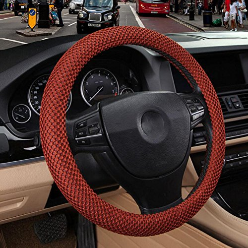 Ysh coperchio del volante dell'automobile coperchio dell'automobile di quattro stagioni di seta del ghiaccio coprivolante per automobile anti-skid assorbente il sudore,b