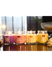 Lighthaus Candles Set of 4 Richly Scented Candles in Breathtaking Range of Aromas (Vanilla Caramel, Midnight Jasmine, English Rose and Lavender Fields)