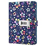 Leder Tagebuch Journal Vintage Notizblöcke,Passwort Tagebuch Notizblock, Secret Tagebuch Notizbuch mit Kombinationsschloss TPN102 Colorful Flowers