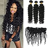 Silkylong ear to ear lace closure with bundles 13 x 4 free part deep curly weave brazilian human hair bundles unprocessed hair weft natural color 16 18 20 +14 frontal