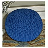#4: The Intellect Bazaar Premium Knitted Pouf (15*15*14 inches), Blue