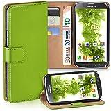 moex Samsung Galaxy S4 Active | Hülle Grün mit Karten-Fach 360° Book Klapp-Hülle Handytasche Kunst-Leder Handyhülle für Samsung Galaxy S4 Active Case Flip Cover Schutzhülle Tasche