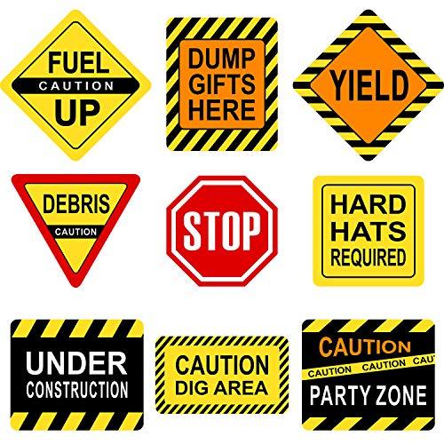 Konstruktion Thema Party Dekorationen, 10 - 11,8 Zoll Laminiert Vorsicht Verkehrs Zeichen, Konstruktion Thema Party Schilder, Papier Ausschnitte mit 40 Klebe Punkten (9 Stücke Konstruktion ()