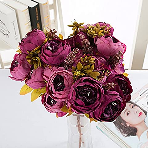 YSBER 1*2 Bouquet Vintage Artificial Peony Silk Flowers Perfect for Wedding, Bridal, Party, Home, Office Decoration(Purple)