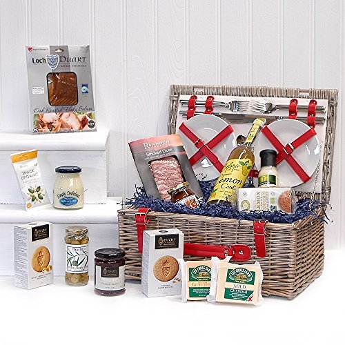Retro 4 Person Red Fitted Chiller Picnic Hamper Basket with an Organic Gourmet Food Selection (Includes 14 Items)