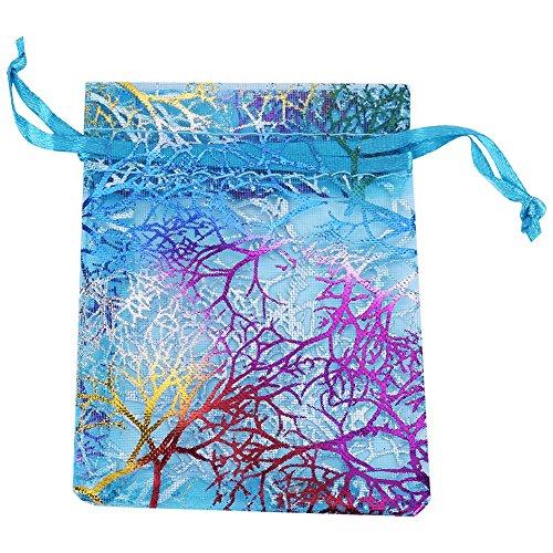 Handtasche des Organza 50pcs Handbags Geschenk Muster Multi-Coralline Schleife oben für die Schmuck Dekoration von Weihnachten des Bankett-Hochzeit des Karamell Größen Blau 9*12cm/3.5*4.7inch