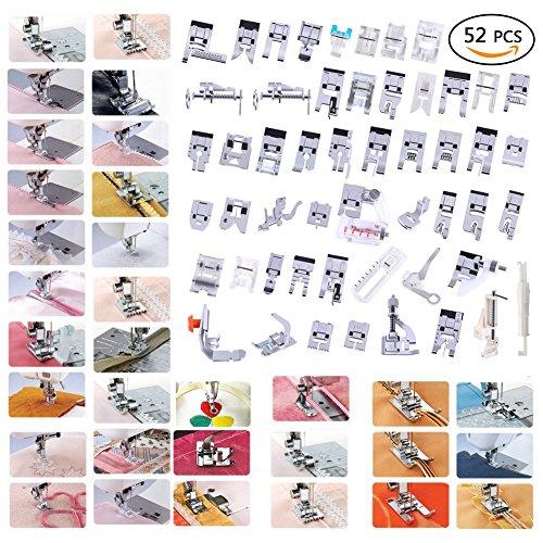TopDirect 52 Piezas Kit Prensatelas Universal Multifuncional Pie de maquina de coser para Janome Toyota Brother Singer