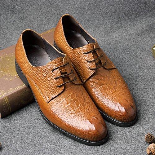 SHIXR Herren Oxford Schuhe 2017 Neue Krokodil Muster Schicht aus Leder Schuhe Runde Kopf Business Kleid Genuine British Leather Authentic Schuhe Brown
