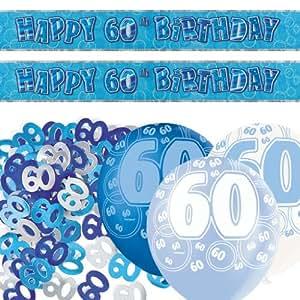 Kit de décoration de fête Brillant Bleu 60 ans