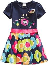 DXTON Mädchen Kleider Pailletten Muster Frühling Sommer Kleidung Party Kids Trägerklei Gr. 90-130
