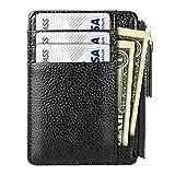Titular de Tarjeta de Crédito, PAMIYO Cuero Genuino Ultra Thin Mini Billetera Práctico para ID Card Pouch Carné de Conducir Monedas