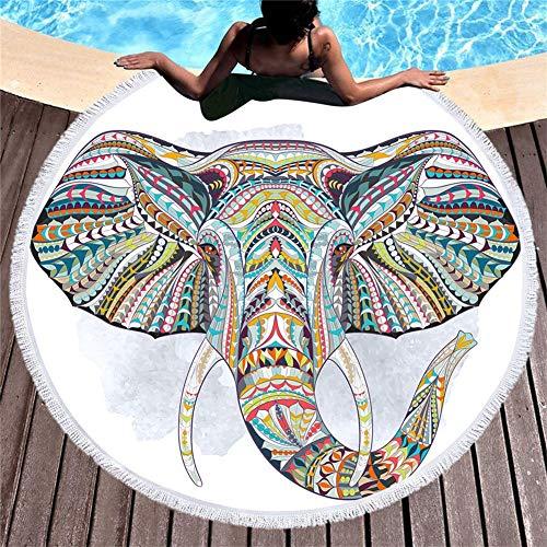 MENGMENGDA Tapiz Redondo Blanco Estampado De Elefantes En Color Americana Microfibra Toalla...