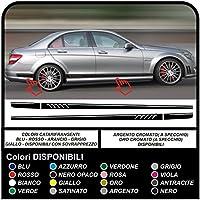 MERCEDES Benz c63 CLA classe C classe E - 507 AMG fasce laterali strisce per mercedes c 63 cla cl classe C grafica Decorazione Adesivi laterali per mercedes Set completo (BIANCO)