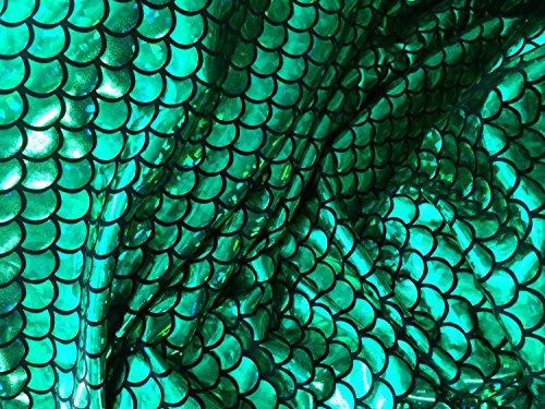 Schwimmen Lycra Kostüm - Groß 1/5,1cm Mermaid Waage Stoff 4Wege Stretch Spandex 147,3cm Verkauft von der Yard 1 Yard grün