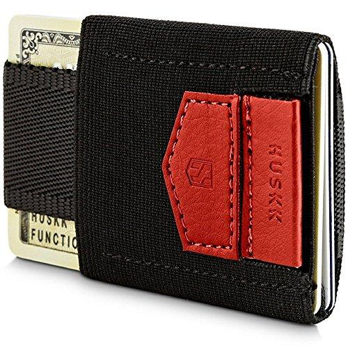 HUSKK Geldbörse, minimalistisch & schmal - 10 Kartenfächer - ideal für Geldscheine, Münzen oder Schlüssel - S - rot (Schuhe Jordan Real)