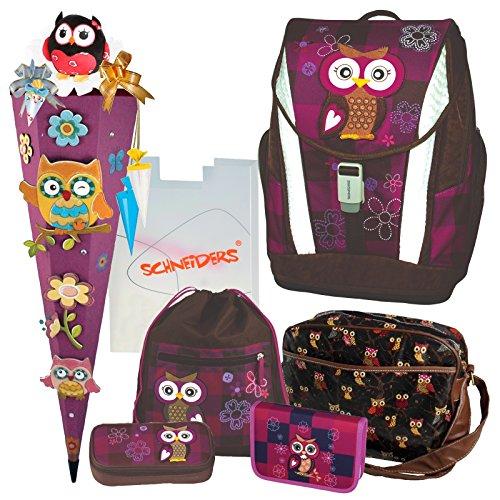 Olivia the Owl Eule Schulranzen Set TOOLBAG SOFT Schneiders u. passende Federtasche Sporttasche Schultüte Schmuckaufsatz-Set Set 14 tlg. - 78405-0513