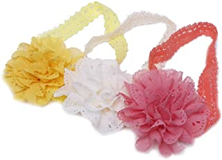 Futurekart Mesh Flower Eyelet Baby Girls Elastic Pink Headband Set of 3 (Yellow Pink Orange)