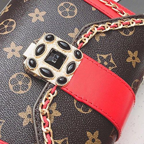 klassische alte Blume Brot kleine quadratische tasche mode handtasche Schulter frauen Mini dame diagonale Kreuz paket Rot