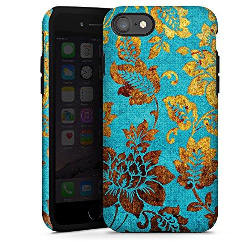 Apple iPhone X Silikon Hülle Case Schutzhülle Blumen Muster Gold Tough Case glänzend