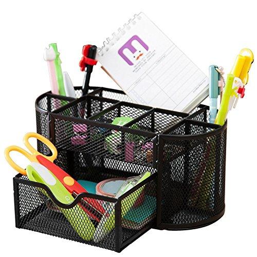 SKYFUN (LABEL) Metal Mesh Multi-Purpose Office Desktop Organizer Pen Stand With Pull-Out Drawer (Black)