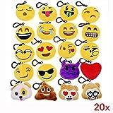 Produkt-Bild: JZK 20 x Mini Emoji Schlüsselanhänger Plüsch , 5cm Smileys Tasche Rucksack Ranzen Anhänger, Spielzeug Geschenk Mitgebsel Gastgeschenk für Geburtstag Kinder Party