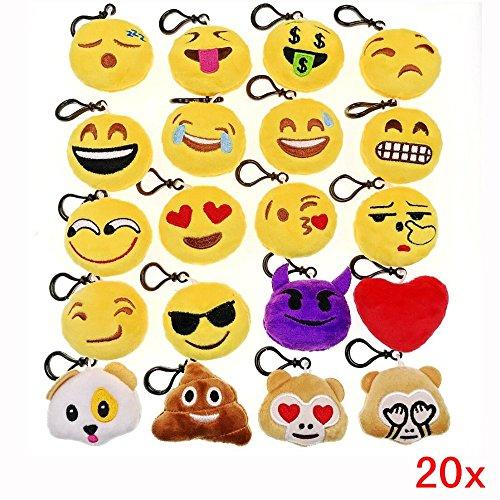 Geburtstag Favors 5. Party (JZK 20 x Mini Emoji Schlüsselanhänger Plüsch , 5cm Smileys Tasche Rucksack Ranzen Anhänger, Spielzeug Geschenk Mitgebsel Gastgeschenk für Geburtstag Kinder Party)