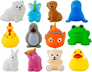Urbanese Chu-Chu Bath Toys (Multicolour) - Set of 12 Animals