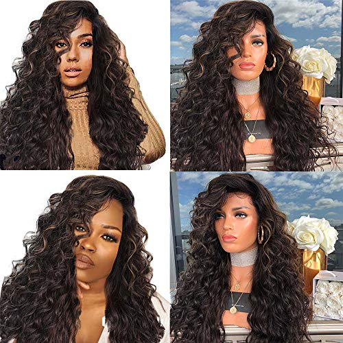 MMLC Extra Long Afro Kinky Curly Ombre Wig Two Tone Red Color Synthetic Lace Front Wig for Cosplay Heat Resistant 75CM ()