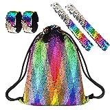 FEPITO Magia Lentejuela Sirena Bolsa de cordón con pulseras Slap Mochila de brillo Bolsa de deporte de moda Bolsa ligera para niñas Adolescentes Regalo de cumpleaños Color del arco iris 5 piezas