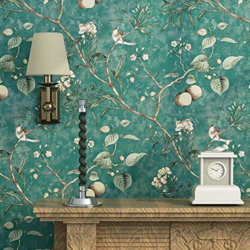 Blooming Wand Vintage Flower Bäume Vögel Tapete für Wohnzimmer Schlafzimmer Küche, 57quadratisch FT., Smaragd Grün