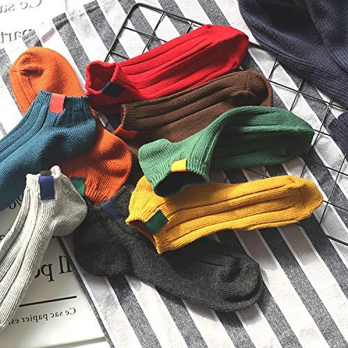KWXHG Baumwolle Wilde Seite Standard-Armband Retro Feste Farbe Dicke Linie Doppel-Nadel-Schüler Sport Socken Flachen Mund Weiblichen Boot Socken, 35-38, beige (Boot Socken Beige)