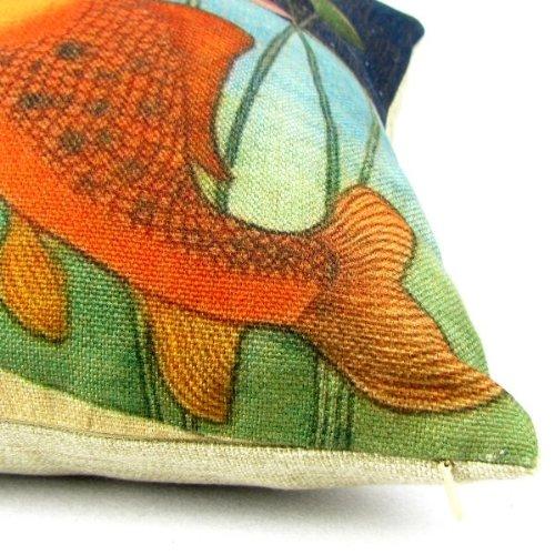 Birds And Fish Cartoon Cotton Linen Sofa Decor Throw