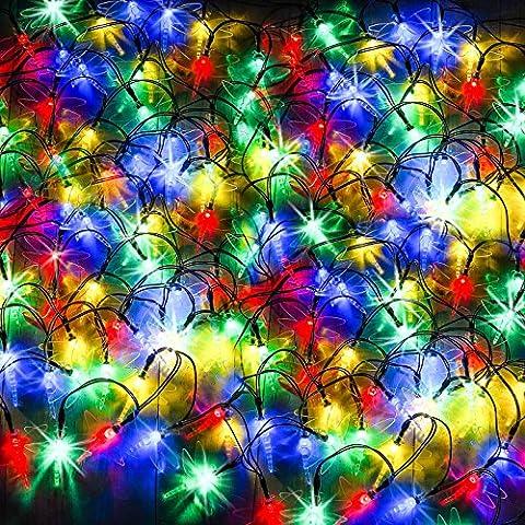 100 DEL lumières solaires multicolores en forme de libellules par