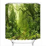LB Wald Dschungel Wald Baum Grün Blätter Duschvorhang Dekor Badezimmer mit Haken Wasserdichtes Polyestergewebe Anti-Schimmel 180x200
