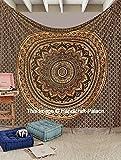 Exclusive Indian Ombre Mandala negro & oro algodón King tamaño tapiz étnico bohemio colcha colgante de pared manta decoración de la pared Hippie 108'x108' se vende por 'handicraft-palace'