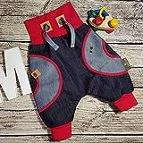 Jeanshose Hose Jeans Kinderhose Babyhose Mitwachshose Pumphose Wunschgröße personalisiert handmade Taschen Hosentaschen retro blau denim rot