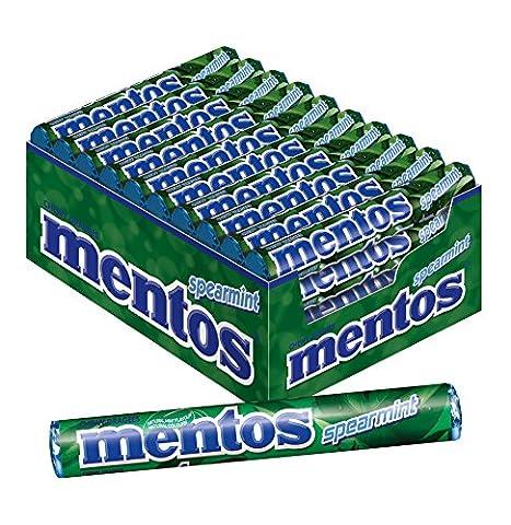 Mentos Spearmint Dragees | Geschmack Minze natürlich | Karton mit 40 Rollen Bonbons | Multipack für frischen (Flavor Rolle Mints)