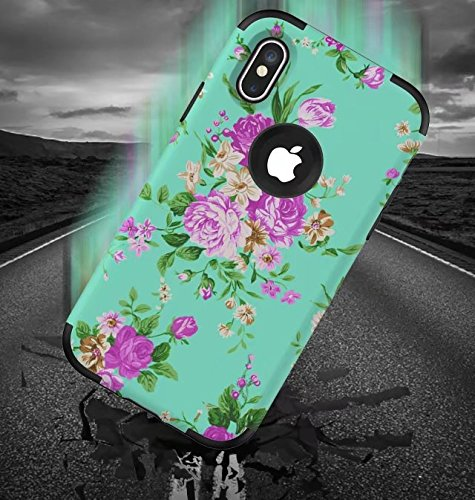 iPhone X Hülle, Lantier Anti Slip Dust Scratch Dual Layer Heavy Duty Vintage Floral Flowers Hybrid Armor Hard Soft Rubber Full Body Protective Durable Shockproof Case Cover für Apple iPhone X Silver Schwarz