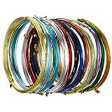 Hestya 12 Rouleaux Fils en Aluminium d'Artisanat Multicolores, Fil Métallique Flexible pour la Fabrication de Bijoux et Divers Métiers, Chaque Rouleau 16,4 Pieds (Calibre 20)