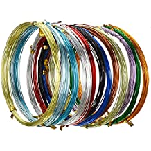 12 Rollos de Alambre de Aluminio Multicolor para Manualidades, Alambres de Metal Flexible para Fabricación de Bisutería y Manualidades Varias, Cada Rollo 16,4 Pies (20 Gauge)